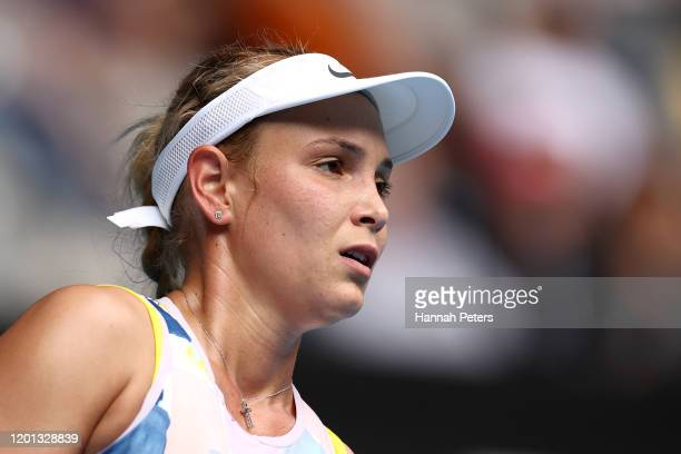 Donna Vekic of Croatia reacts during her Women's Singles second round match against Alize Cornet of France on day four of the 2020 Australian Open at...