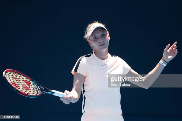 Donna Vekic of Croatia reacts in her first round match against Nao Hibino of Japan on day two of the 2018 Australian Open at Melbourne Park on...