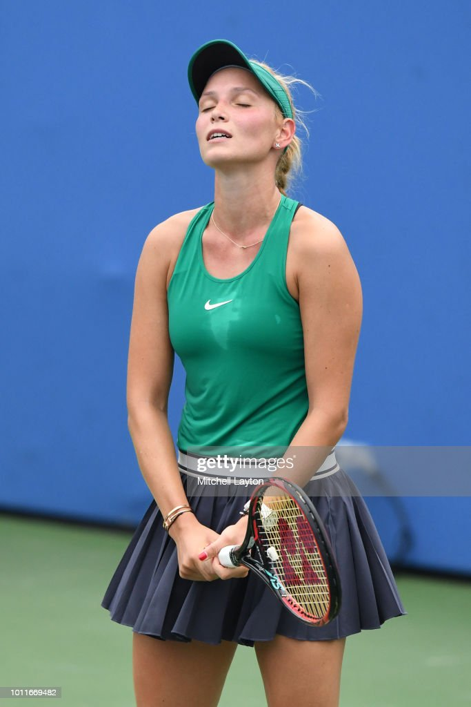 Donna Vekic of Croatia reacts to missed shot from Svetlana Kuznetsova of Russia during the Women's Finals on Day Nine of the Citi Open at the Rock Creek Tennis Center on August 5, 2018 in Washington, DC.