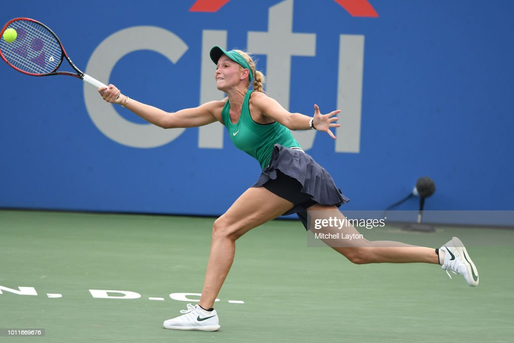 Donna Vekic of Croatia returns a forehand shot to Svetlana Kuznetsova of Russia during the Women's Finals on Day Nine of the Citi Open at the Rock Creek Tennis Center on August 5, 2018 in Washington, DC.