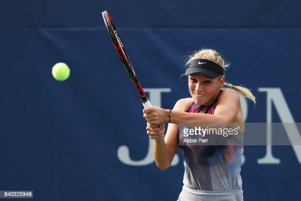 Donna Vekic of Croatia returns a shot during her first round Women's Singles match against Beatriz Haddad Maia of Brazil on Day One of the 2017 US...