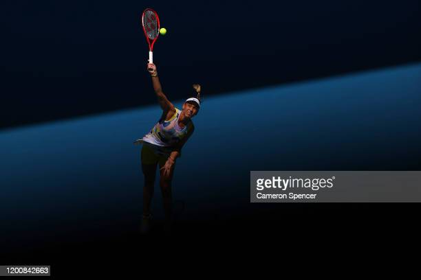 Donna Vekic of Croatia serves during her Women's Singles first round match against Maria Sharapova of Russia on day two of the 2020 Australian Open...