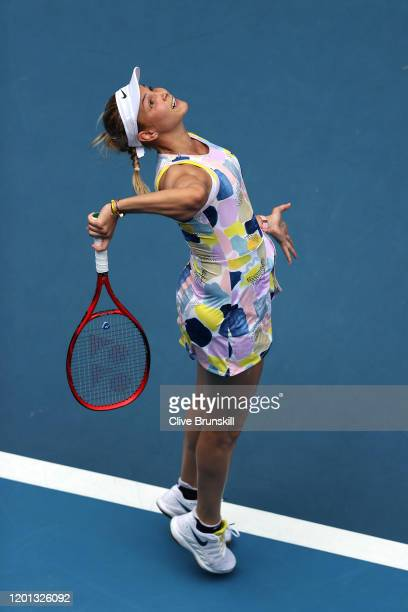 Donna Vekic of Croatia serves during her Women's Singles second round match against Alize Cornet of France on day four of the 2020 Australian Open at...