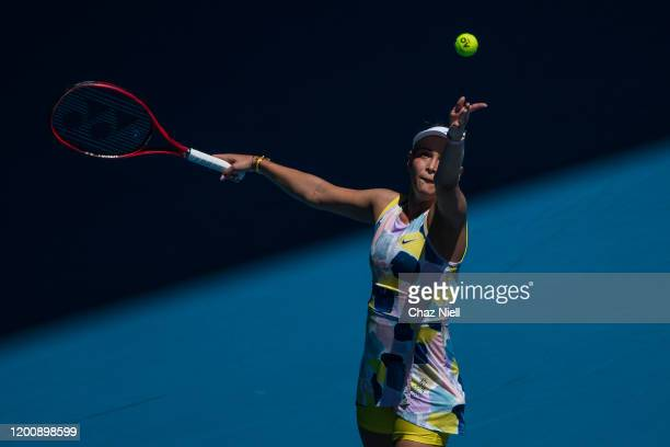 Donna Vekic of Croatia serves in her first round match against Maria Sharapova of Russia on day two of the 2020 Australian Open at Melbourne Park on...