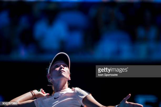 Donna Vekic of Croatia serves in her second round match during the 2018 Australian Open on January 18 at Melbourne Park Tennis Centre in Melbourne...
