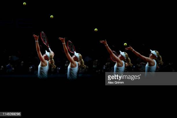 Donna Vekic of Croatia serves the ball to Naomi Osaka of Japan during their quarterfinal on day 5 of the Porsche Tennis Grand Prix at PorscheArena on...