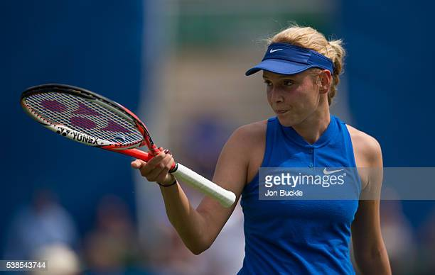 Donna Vekic of Croatia stands dejected after her women's singles match against Tara Moore of Great Britain on day two of the WTA Aegon Open on June 7...
