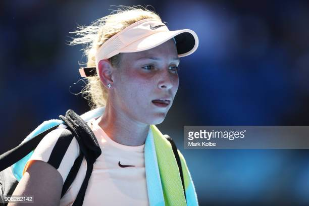 Donna Vekic of Croatia walks from the court after her second round match against Angelique Kerber of Germany on day four of the 2018 Australian Open...