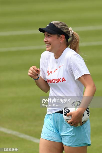 Donna Vekic of Croatia warms up playing football during the Viking Classic Birmingham at Edgbaston Priory Club on June 13, 2021 in Birmingham,...