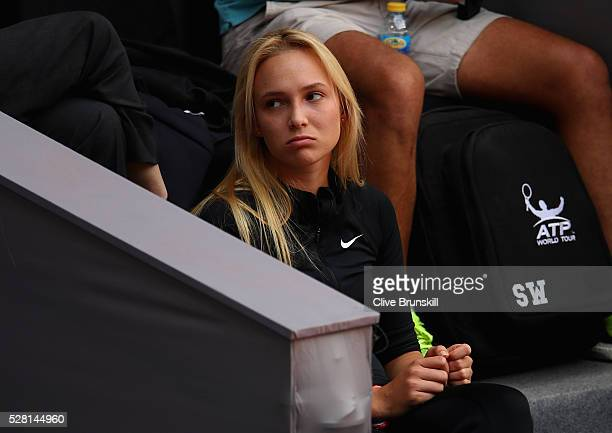 Donna Vekic of Croatia watches Stanislas Wawrinka of Switzerland during his straight sets defeat against Nick Kyrgios of Australia in their second...