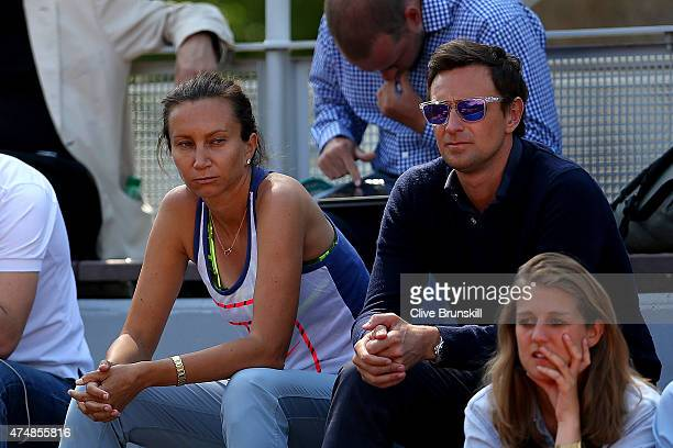 Donna Vekic of Croatia's coach Iva Majoli watches her women's singles match against Bojana Jovanovski of Serbia during day four of the 2015 French...