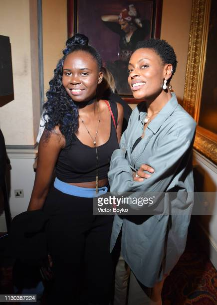 Donna Wallace and Deborah Ababio attend the Victoria Beckham x YouTube Fashion Beauty After Party at London Fashion Week hosted by Derek Blasberg and...