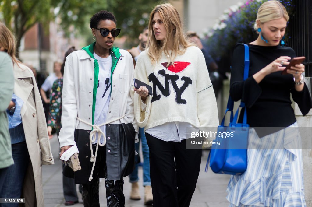 Donna Wallace and Natalie Hartley outside Anya Hindmarch during London Fashion Week September 2017 on September 17, 2017 in London, England.