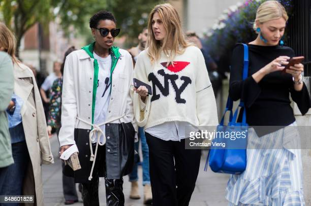 Donna Wallace and Natalie Hartley outside Anya Hindmarch during London Fashion Week September 2017 on September 17 2017 in London England
