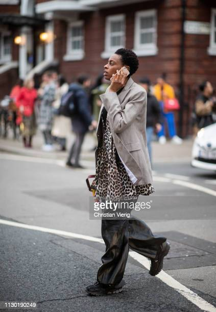 Donna Wallace is seen wearing animal print outside Toga during London Fashion Week February 2019 on February 16 2019 in London England