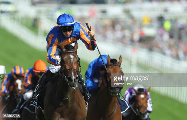 Donnacha O'Brien riding Forever Together wins the Investec Oaks during the Investec Ladies Day at Epsom Downs on June 1, 2018 in Epsom, England.
