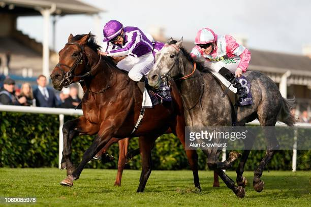 Donnacha O'Brien riding Magna Grecia win The Vertem Futurity Trophy Stakes at Doncaster Racecourse on October 27, 2018 in Doncaster, England.