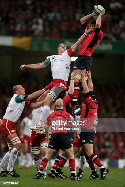 Donnacha O'Callaghan of Munster wins lineout ball ahead of Imanol Harinordoquy of Biarritz during the Heineken Cup Final between Munster and Biarritz...