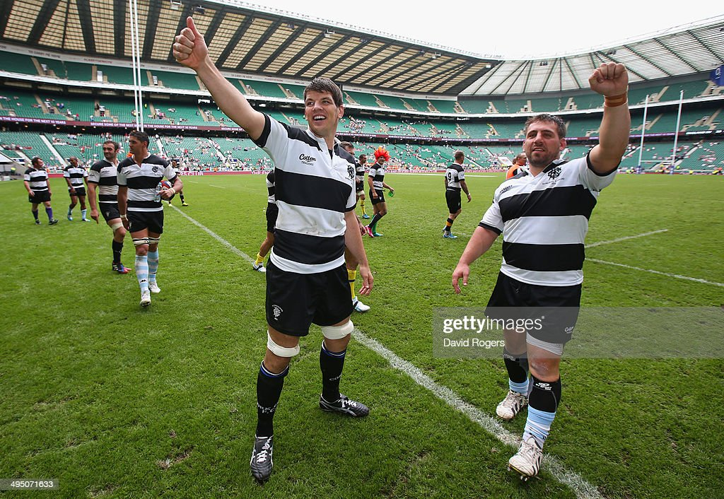 Donncha O'Callaghan and Julien Brugnaut of the Barbarians celebrate during the Rugby Union International Match between England and The Barbarians at Twickenham Stadium on June 1, 2014 in London, England.