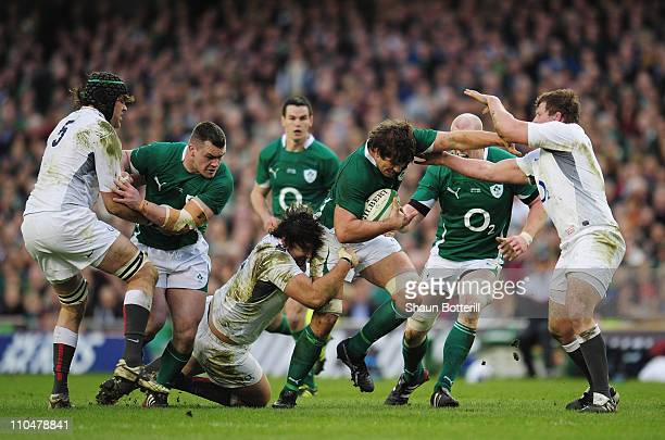 Donncha O'Callaghan of Ireland tries to break through the England defence during the RBS 6 Nations match between Ireland and England at the Aviva...