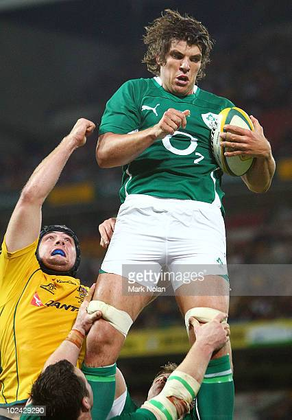 Donncha O'Callaghan of Ireland wins line out ball during the Lansdowne Cup Test Match between the Australian Wallabies and Ireland at Suncorp Stadium...