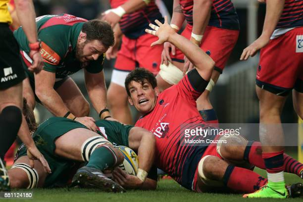 Donncha O'Callaghan of Worcester Warriors during the Aviva Premiership match between Leicester Tigers and Worcester Warriors at Welford Road on...