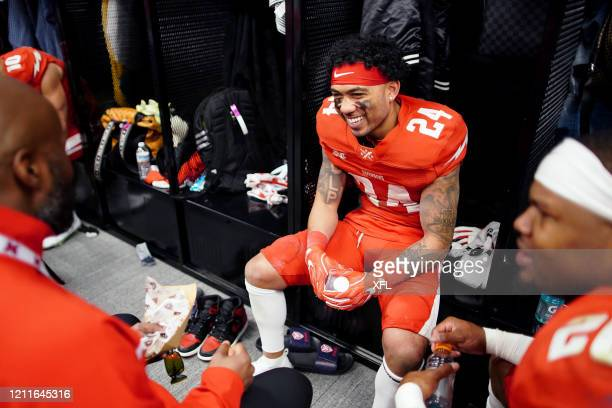 Donnel Pumphrey of the DC Defenders smiles at halftime during the XFL game against the St Louis BattleHawks at Audi Field on March 8 2020 in...