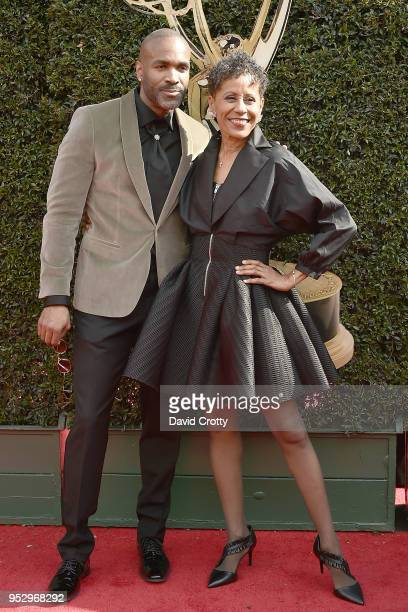 Donnell Turner and Vernee Watson Johnson attend the 2018 Daytime Emmy Awards Arrivals at Pasadena Civic Auditorium on April 29 2018 in Pasadena...