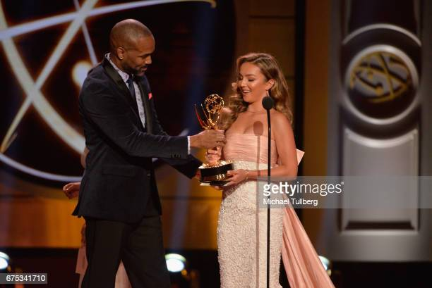 Donnell Turner presents the award for outstanding younger actress in a drama series to Lexi Ainsworth for 'General Hospital' at the 44th annual...