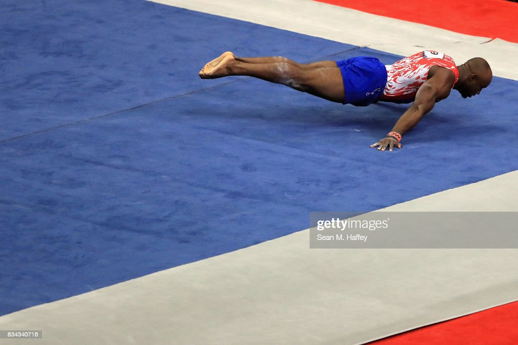 Donnell Whittenburg competes on the Floor Exercise during the P&G Gymnastics Championships at Honda Center on August 17, 2017 in Anaheim, California.