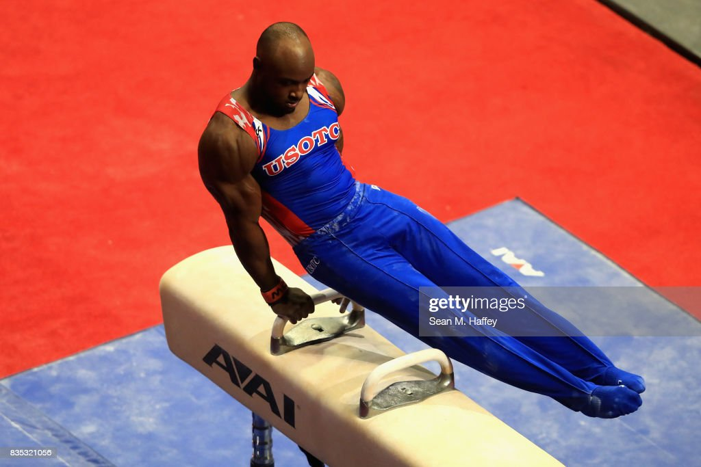 Donnell Whittenburg competes on the Pommel Horse during the P&G Gymnastics Championships at Honda Center on August 17, 2017 in Anaheim, California.