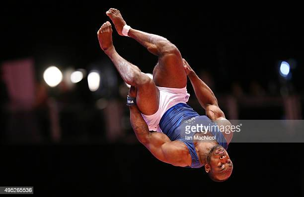 Donnell Whittenburg of United States competes on the vault during day ten of The World Artistic Gymnastics Championships at The SSE Hydro on November...