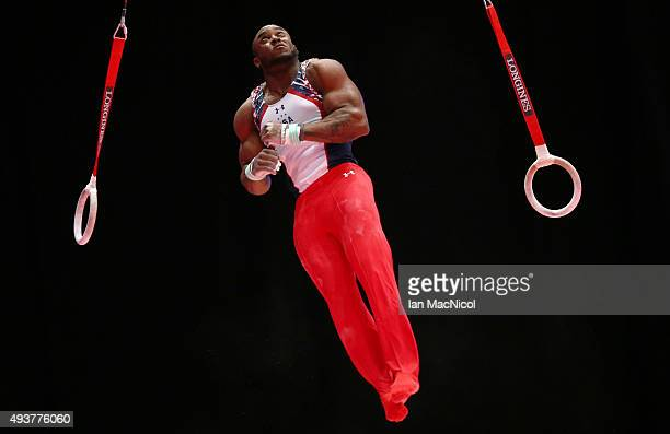 Donnell Whittingburg of the United States goes through his routine on the Rings during the 2015 World Artistic Gymnastics Championships Training...