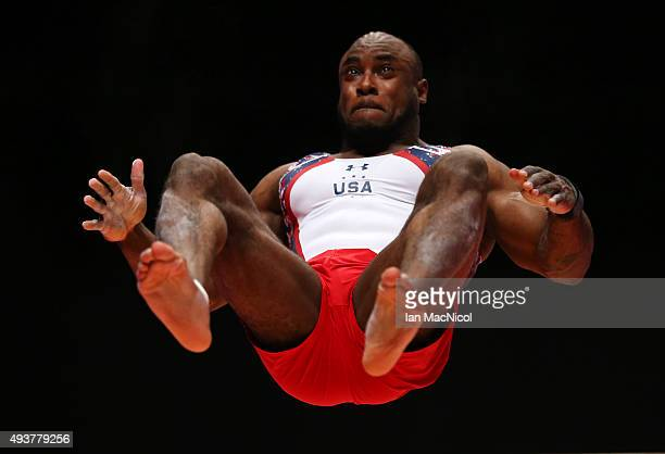 Donnell Whittingburg of the United States goes through his routine on the Vault during the 2015 World Artistic Gymnastics Championships Training...