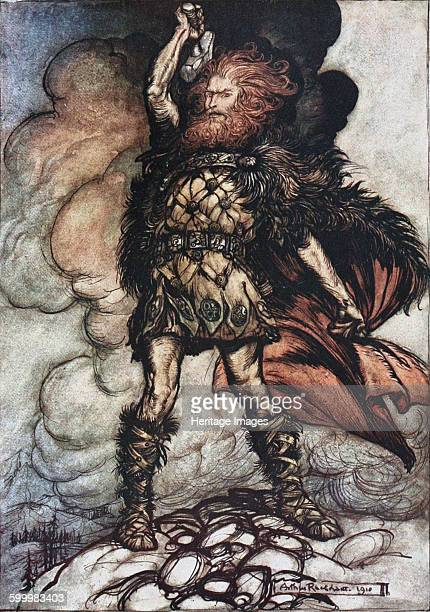 Donner your lord summons his hosts Illustration for The Rhinegold and The Valkyrie by Richard Wagner 1910 Private Collection Artist Rackham Arthur