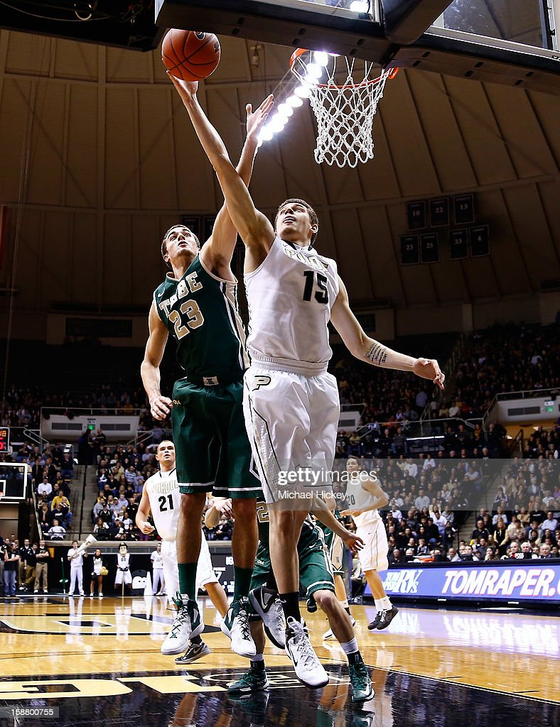 Donnie Hale #15 of the Purdue Boilermakers shoots the ball as Kyle Gaillard #23 of the William & Mary Tribe defends at Mackey Arena on December 29, 2012 in West Lafayette, Indiana. Purdue defeated William & Mary 73-66.