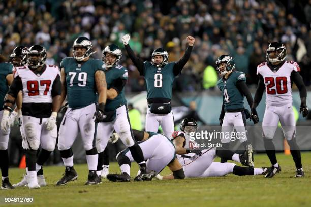 Donnie Jones of the Philadelphia Eagles celebrates after Jake Elliott kicked a 53 yard field goal against the Atlanta Falcons during the second...