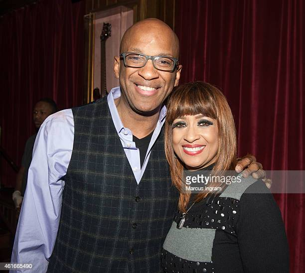Donnie McClurkin and Dorinda ClarkCole attend the BMI Trailblazers awards kick off celebration at Hard Rock Cafe on January 16 2015 in Atlanta Georgia