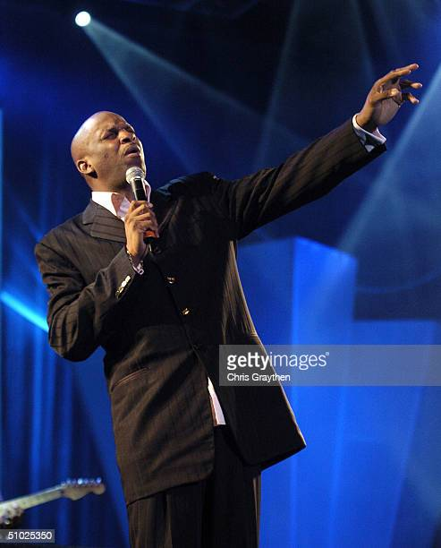 Donnie McClurkin performs at the 10th Anniversary Essence Music Festival at the Superdome on July 4 2004 in New Orleans Louisiana