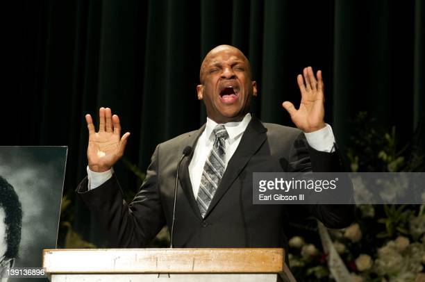Donnie McClurkin sings at the memorial service for Don Cornelius of 'Soul Train' on February 16 2012 in Los Angeles California