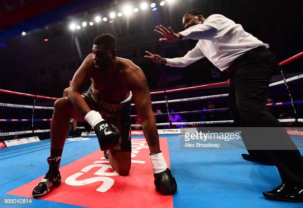 Donnie Palmer after being knocked down by Joe Joyce during their Heavyweight fight at York Hall on March 17 2018 in London England