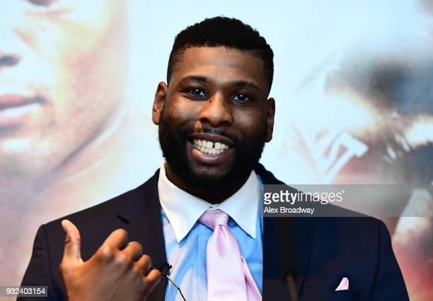 Donnie Palmer talks during a press conference at Chino Latino Park Plaza Riverbank on March 15 2018 in London England The Double Header Fight Night...