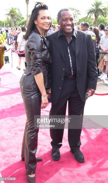 Donnie Simpson and wife Pam attend the 20th Anniversary celebration of BET at the Paris Hotel May 6 2000 in Las Vegas NV
