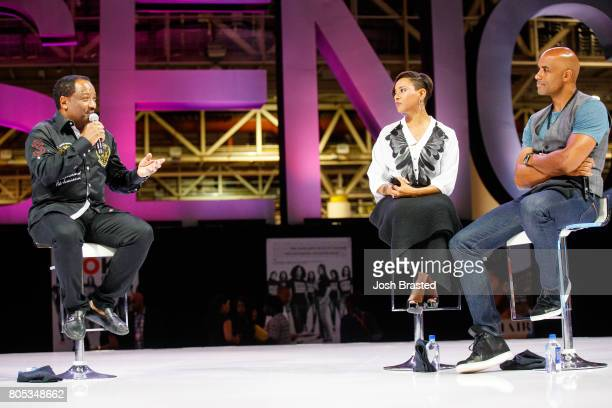 Donnie Simpson MC Lyte and Boris Kodjoe attend the 2017 Essence Festival at the Ernest N Morial Convention Center on June 30 2017 in New Orleans...