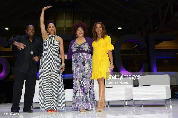 Donnie Simpson Vivica A Fox Kim Coles and Holly Robinson Peete attend the 2018 Essence Festival Day 1 on July 6 2018 in New Orleans Louisiana