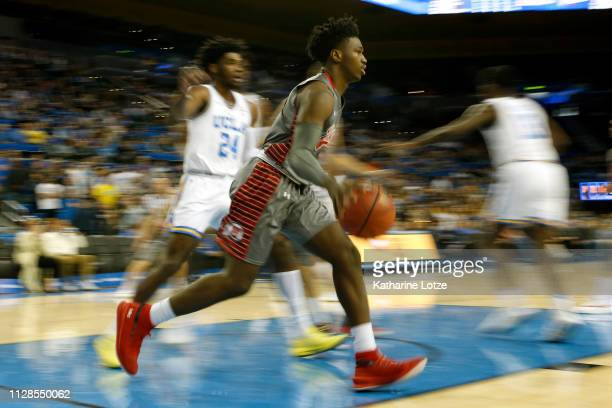 Donnie Tillman of the Utah Utes prepares for a pass during the first half of a game against the UCLA Bruins at Pauley Pavilion on February 09 2019 in...
