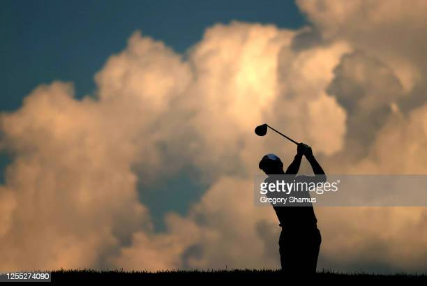 Donnie Trosper of the United States plays his shot from the 11th tee during the first round of the Workday Charity Open on July 09, 2020 at Muirfield...