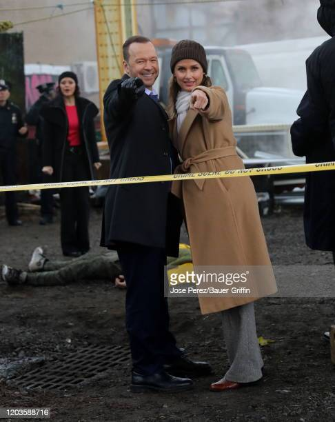Donnie Wahlberg and Bridget Moynahan are seen on the set of 'Blue Bloods' on February 26, 2020 in New York City.