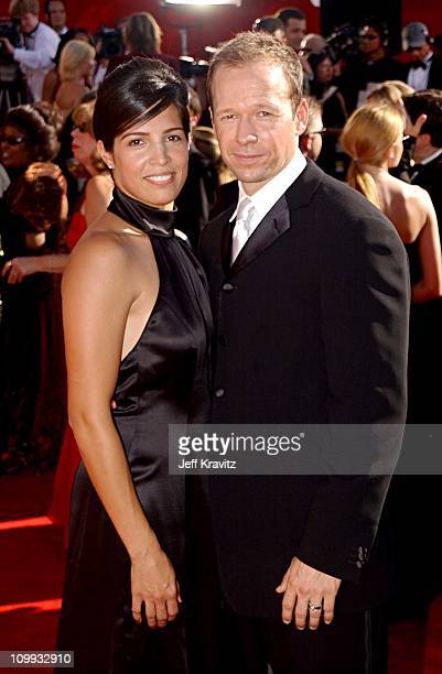 Donnie Wahlberg and his wife Kim during The 54th Annual Primetime Emmy Awards - Arrivals at The Shrine Auditiorium in Los Angeles, California, United...