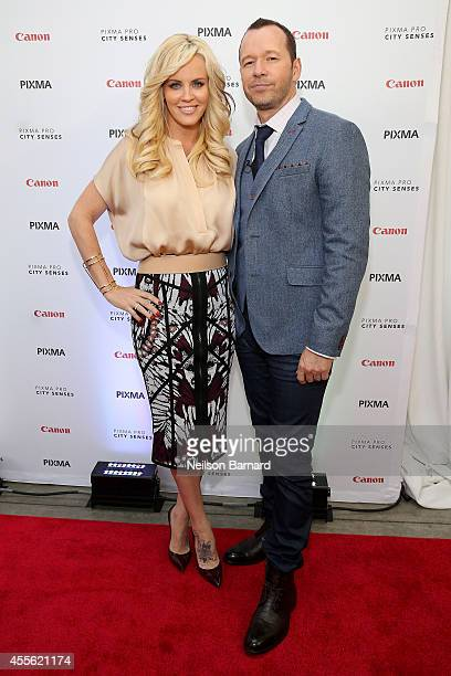 Donnie Wahlberg and Jenny McCarthy attend the Canon PIXMA PRO City Senses Gallery in Boston on September 17 2014